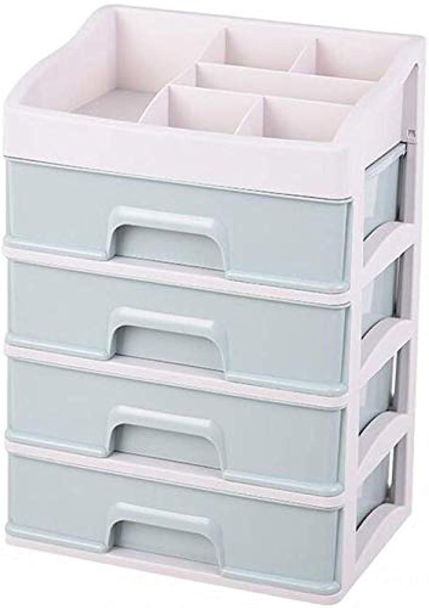 生態学招待ラッシュ化粧品オーガナイザー化粧品マルチレイヤーストレージボックスデスクトップシェルフストレージチューブ物の棚を整理物を箱に分類(色:青、スタイル:3層)