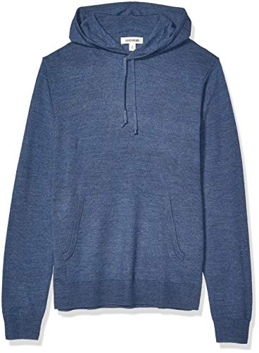 Amazon Brand - Goodthreads Men's Lightweight Merino/Wool Acrylic Pullover Hoodie Sweater, Denim Large