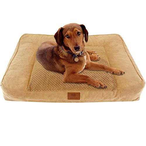American Kennel Club Tan Memory Foam Extra Large Sofa Dog Pet Bed, Tan Popcorn Fur, Model: AKC-1882 Tan