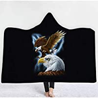 ソフトパーカーブランケット成人男性と子供、ウェアラブルフード付き動物毛布、神秘的なイーグルパターン、フード付きナップブランケット寝具 color G-59''x51''