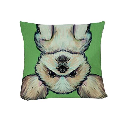 HAODEE Patrón de Perro Cortado Funda de Almohada de Lino Funda de cojín de Tiro de la Cintura decoración del sofá del hogar Style 8