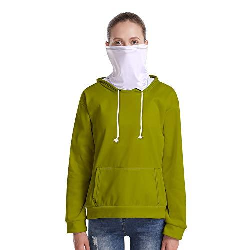 T-Shirt À Manches Longues,Casual Long Sleeve Lâche Solide Herbe Vert Unisex Pull À Cordon Tops Chemisier Chemise avec Écharpe Hommes Hommes Automne Hiver Pullover Sweatshirt, L