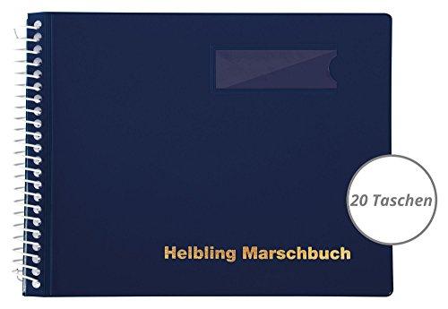 Helbling BMB20 Marschbuch (Notenbuch mit 20 blendfreien Klarsichthüllen, Umschlag aus flexiblem Kunststoff, bruchsichere Spiralbindung, wetterfest, Querformat: 18 x 14 cm) blau