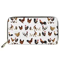 White bag with zipper has chickens on it  are the perfect gifts for chicken lovers