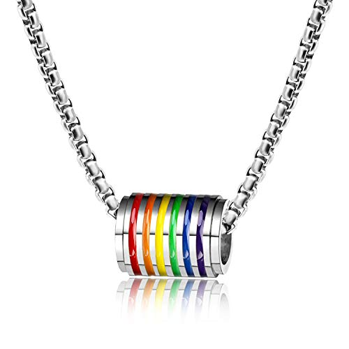 PHOGARY LGBT Necklace, Gay Pride Collana Accessorio, Gioielli con Ciondolo con Perline Arcobaleno con Catena (Acciaio Inossidabile), Borsa Regalo per Uomo Donna (Argento)