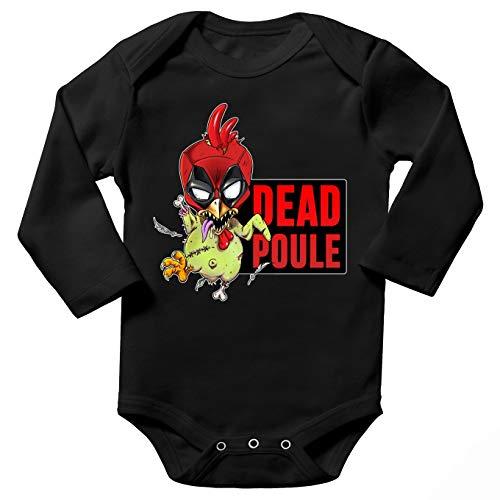 Okiwoki Body bébé Manches Longues Noir Parodie Deadpool - Deadpool ou Dead Poule - Dead Poule(Body bébé de qualité supérieure de Taille 3 Mois - imprimé en France)