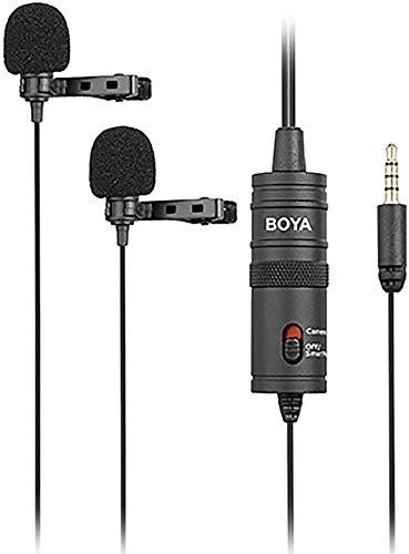 Microfone Lapela duplo para Câmeras, Smartphones e Tablets - Boya