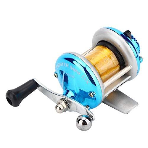 BIKING Carrete de Pesca, Rueda Tipo Tambor Horizontal con sedal Carrete de señuelo Rueda de Pesca en Hielo Aparejos de Pesca(Azul)