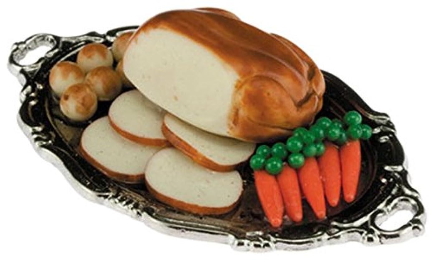 時系列独占挨拶するDollhouse Miniature 1:12 Scale Turkey Dinner on Serving Platter