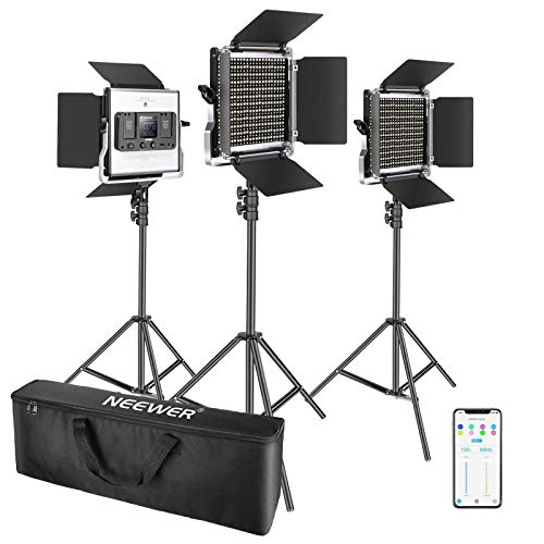 Neewer 3 Packs 660 LED Video Light with APP Control, Photography Video Lighting Kit with Light Stands, Dimmable 40W Bi-Color 3200K-5600K High CRI with Diffuser/Barndoor/Bag for Studio YouTube Shooting