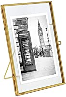 Isaac Jacobs Brass and Glass Floating Frame with Sliding Locket Closure (4x6 Antique Gold)