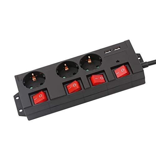 KS Mehrfachsteckdose, 3 Fach Steckdosenleiste mit 2 USB und 9000A Überspannungsschutz und Blitzschutz Steckerleiste einzeln schaltbar 3680W, Kindersicherung, 1,4m Kabellänge, Schwarz