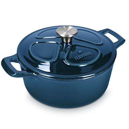 Navaris Gusseisen Topf Bratentopf Kochtopf 3,5l - Ø 24cm Bräter emailliert temperaturbeständig - alle Speisen und Kochflächen - spülmaschinenfest