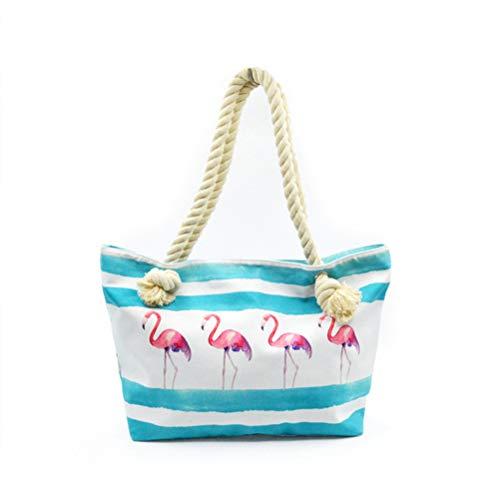 TENDYCOCO grote canvas gestreepte tas strandtas schoudertas boodschappentas reistas herbruikbare boodschappentas met Flamingo afdrukken