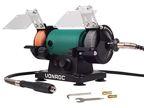 VONROC Rectificadora de mesa/multiherramienta 150W – 75mm con eje flexible