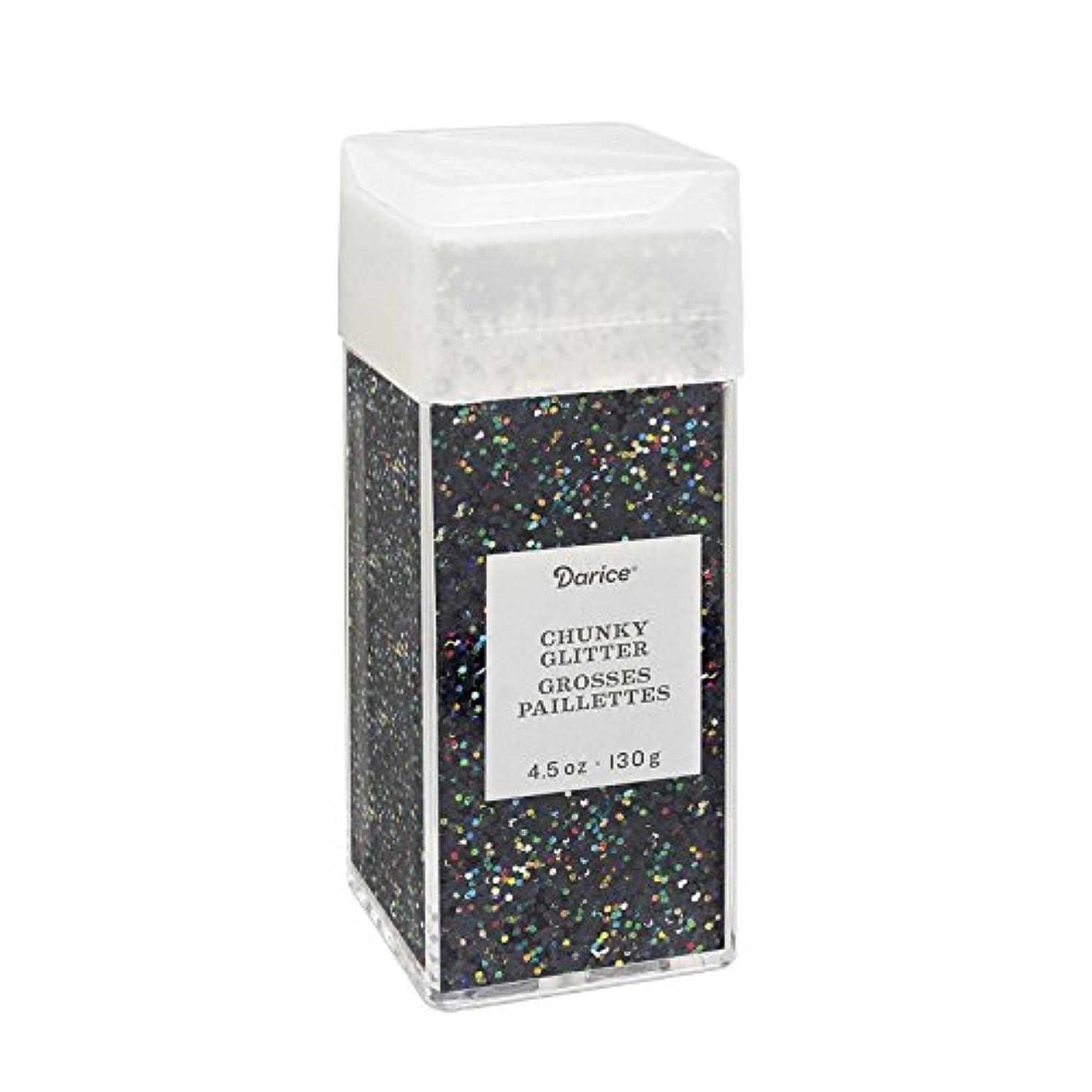 Darice 30029671 Chunky Iridescent Black, 4.5 Ounces Glitter,