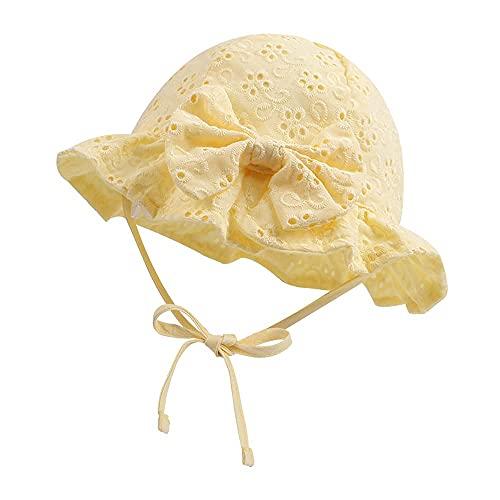 Sunowo Sombrero de verano para bebé, 100 % algodón, bordado, plegable, para la playa, protección UV 50, amarillo, 52