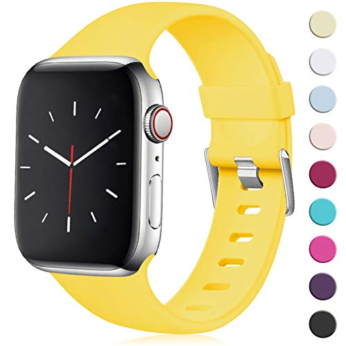 Maledan Compatibile per Cinturino Apple Watch 44mm 42mm, [Classica Fibbia] Morbido Cinghia di Ricambio Regolabile in TPU per Apple Watch Series 5/4/3/2/1, M/L Giallo Mango