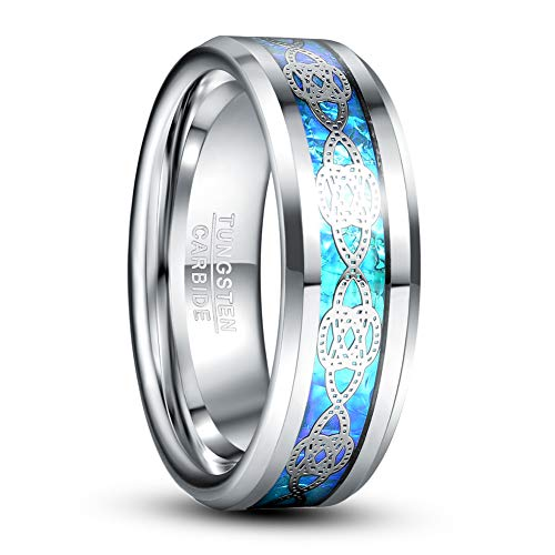 VAKKI 8mm Mens Celtic Knot Tungsten Ring Blue Opal Sticker Inlay Wedding Band Size 11