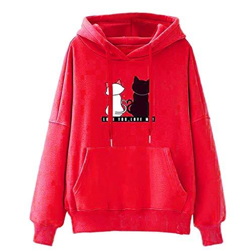 HOTHONG Femme Sweatshirt à Capuche Pull Tops Imprimé Pullover Hoodie Overize Veste Tops Chemisier Manches Longues Femme Ado Lâche Hip Hop Manteau Capuche Automne Hiver