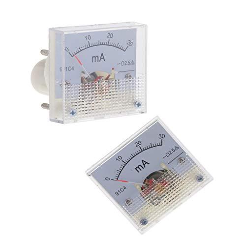 Fenteer 2Pcs Amperímetro De CC Medidor De Panel Analógico Medidor De Amplificador Indicador De Corriente Tipo De Puntero 0-30mA