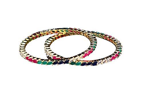 Gemsonclick Brazaletes con piedras de circonita cbica con tachuelas de diamante americano para mujer, diseo moderno y tnico antiguo Kangan