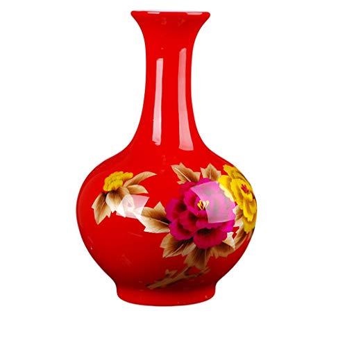 HongLianRiven Wohnaccessoires Vase Keramik Bodenvase Chinesische Rote Pfingstrose Stroh Vase Dekoration Handwerk Wohnzimmer Pendel 8-27 (Color : Red)