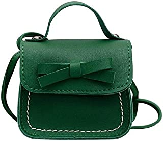 Fashion Single-Shoulder Bags Bowknot PU Leather Mini Baby Girls Casual Messenger Bag Coin Purse Children Small Clutch Bags Simple Shoulder Bag(Black) (Color : Green)