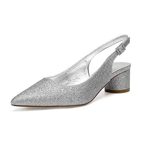 Gycdwjh Zapatos de Novia Tacon Bajo, Sexy Sandalias para Mujer Puntiagudo Tacón...