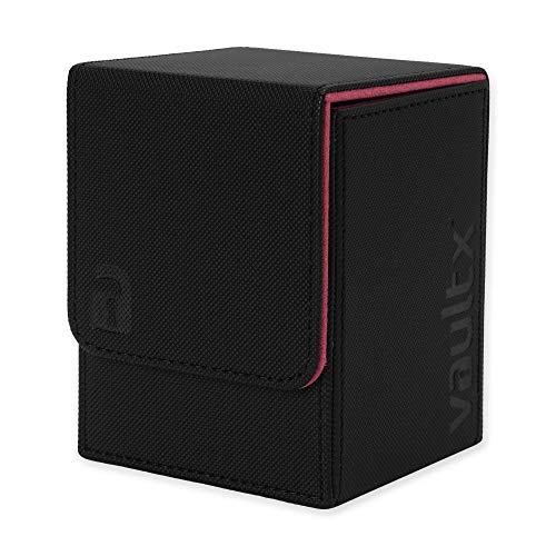 Vault X  Premium eXo-Tec  Deck Box - Large Size for 100+ Sleeved Cards - PVC Free Card Holder for TCG (Black/Electric Pink)