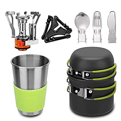 Lion Camping Cookware Mess Kit with Mini Stove,Lightweight Pot Tank Bracket Knife Fork Spoon and Stainless Steel Cup for Outdoor Camping Backpacking Hiking and Picnic