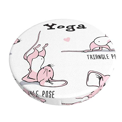 AEMAPE 13 Inch Little Pink Mouse Practicing Yoga Bar Stool Covers Round Cushion Chair Slipcover Washable for Home Hotel