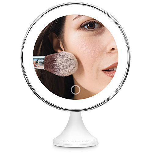 BEQOOL 2020 New Version 10X Magnifying Makeup Mirror with Lights,360°Swivel Mirror, Smart Switch, LED Lighted Portable Mirror with Powerful Suction Cup for Home Desk Tabletop Bathroom Travel (Silver)