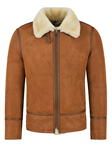 """Smart Range Blouson aviateur en Peau de Mouton en Peau de Mouton B3 pour Homme en Peau de Mouton pour Homme Whisky/Harbin Beige Beige (L for Chest 42"""")"""