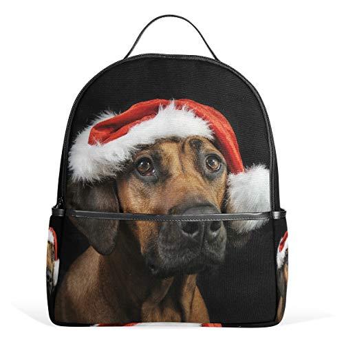 MyDaily Rhodesian Ridgeback Hund Nikolaus Hut Rucksack für Jungen Mädchen Schule Büchertasche