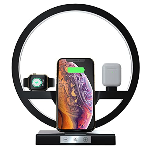30W Wireless Charger with Multifunction Table Lamp, Fast Qi-Certified Charging Station Compatible for Apple Watch Airpods iPhone and Samsung Smartphone