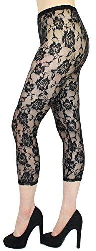 dy_mode Transparente Leggings Damen Spitzen Blumen Muster Netz Leggings Strumpfhose - One Size 34 bis 38 - JL253 (JL253-Schwarz)