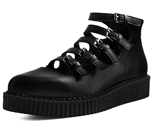 T.U.K. Shoes Damenschwarze Tuchhaut Multistrap Spitz Creeper EU37 / UKW4