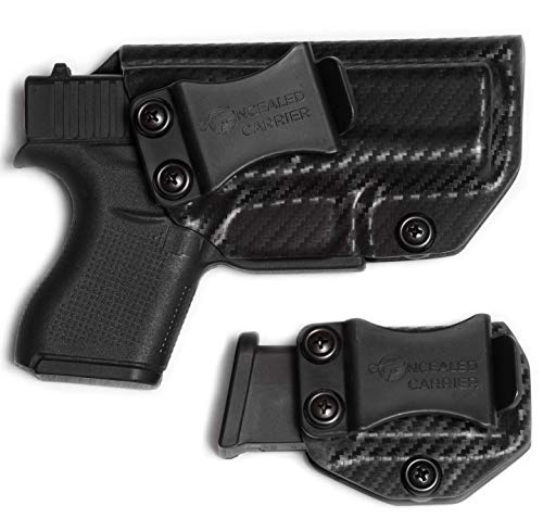 IWB Glock 43 / 43X Holster with Magazine Holster (not 43X)   Made in USA by Combat Veteran Owned Company   Mag   Concealed Carry Holsters Inside The Waistband (Carbon Fiber, Right-Hand Draw (IWB))