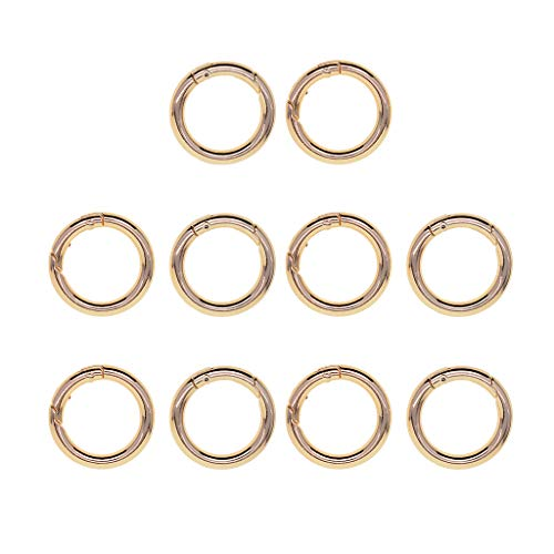Baoblaze 10 Stücke Schlüsselringe Schlüsselbandring Schlüsselanhänger Ring Clips Schlüssel Ringe Split Ringe - golden