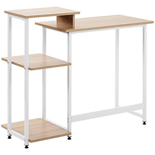 QWEPOI Escritorio para ordenador, mesa de oficina, mesa de oficina, salón, escuela, marco de metal, con 3 estantes, 100 x 34 x 85,5 cm, color madera, estilo nórdico moderno