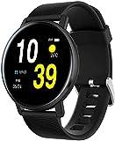 QHG Color Screen Activity Tracker Corazón Monitor Monitor Fitness Tracker Health Watch Reloj Inteligente para iOS & Androide (Color : Black)