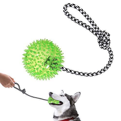 VECELA Hundeball Klein, Wurfball Hund mit Seil Robust Interaktives Hundespielzeug Dogball Hunde Kauspielzeug für Welpen, Kleine und Mittlere Hunde