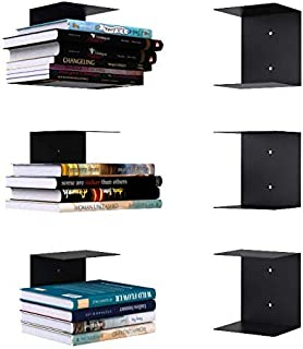 APPUCOCO Book Shelf Wall Mounted Metal Invisible Book Shelves 3 Piece Per Pack with Screws & Plastic Anchors Included (Com...