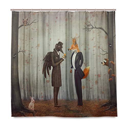 Wamika Raven and Fox im Wald Duschvorhang, Heimdeko, Vogel Tier Kaninchen Design, strapazierfähiger Stoff, schimmelresistent, wasserfest, mit 12 Haken, 183,0 cm x 183,0 cm