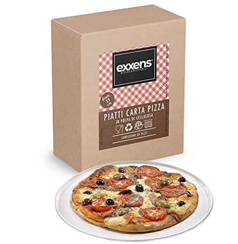 Exxens 20 Piatti Pizza Grandi 33 cm Bianchi di Carta, Biodegradabili Compostabili, in Polpa di cellulosa, No Plastica