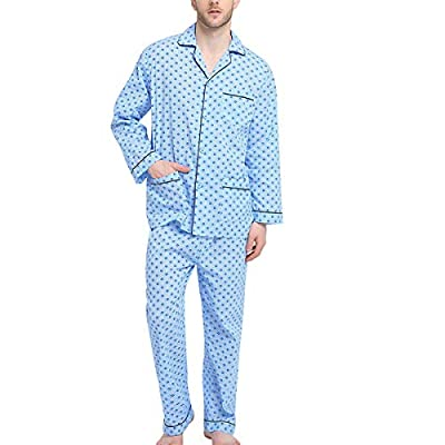 GLOBAL Mens Pajamas Set, 100% Cotton Woven Drawstring Sleepwear Set with Top and Pants/Bottoms, Light Blue With Checkered Prints, Large by GLOBAL