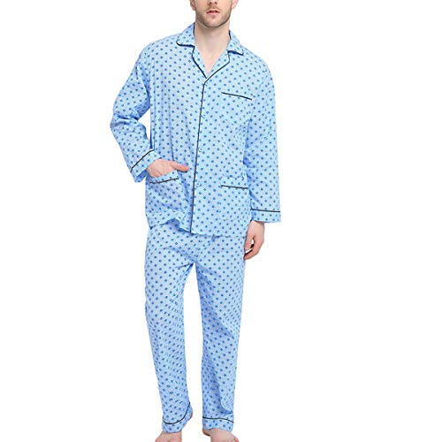 LOBAL Mens Pajamas Set, 100% Cotton Woven Drawstring Sleepwear Set with Top and Pants/Bottoms, Light Blue With Checkered Prints, Large
