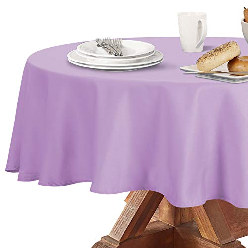 Obstal 210GSM Round Table Cloth, Water Resistance Microfiber Tablecloth, Decorative Fabric Circular Table Cover for Outdoor and Indoor Use (Lavender, 70 Inch Diameter)
