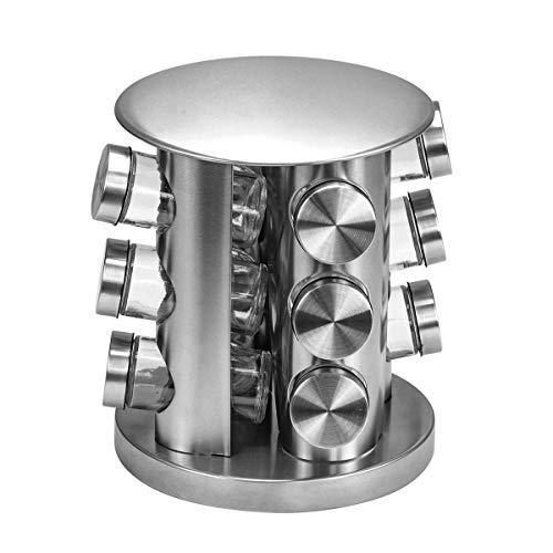Porta condimentos 12 peças com Suporte Giratório Inox, VDR5456-12, Euro Home